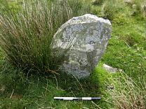 Stone 1 at Porlock Stone Circle from the west, 2009  © Exmoor National Park Authority