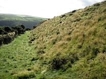 Ditch and rampart south of entrance of Wind Hill from the north, 2009  © Exmoor National Park Authority