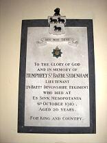 Humphrey St Barbe Sydenham memorial, All Saints Church, Dulverton  © Exmoor National Park Authority