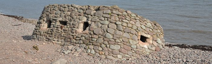 Pebble built pillbox at Porlock Weir (© ENPA, 2012)