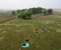 Excavations undertaken at Larkbarrow Mesolithic site, ©Aerial-cam 2008